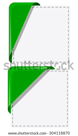 Green ribbon with curled up edge. Vector illustration - stock vector