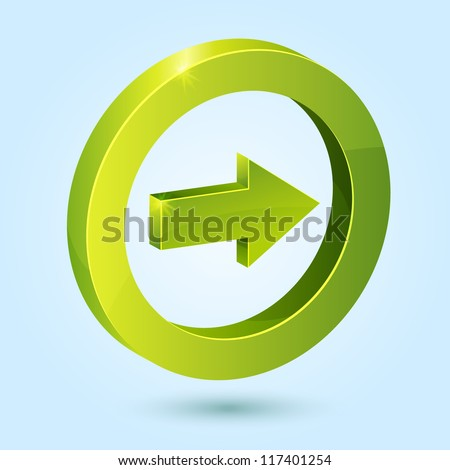 Green right arrow symbol isolated on blue background. This vector icon is fully editable. - stock vector
