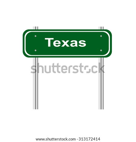 Green road sign US state of Texas