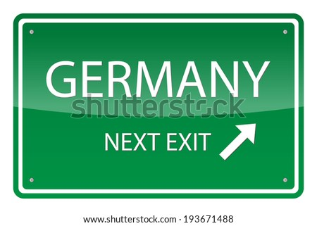 Green road sign, vector - Germany - stock vector