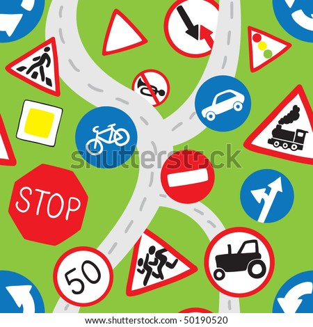 Green Road Signs Seamless Pattern