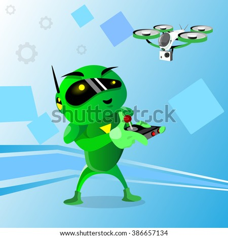 Green Robot Wear Digital Glasses Remote Control Drone Flying Air Quadrocopter Flat Vector Illustration