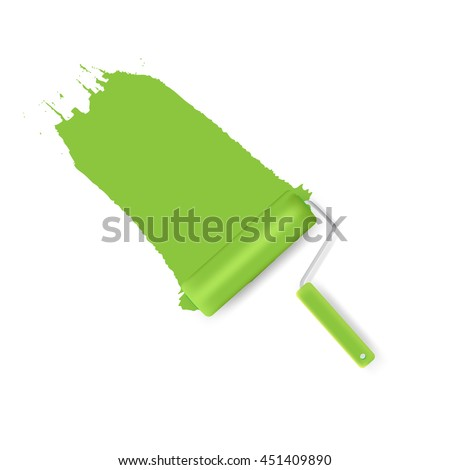 Green Roller Brush Painting on Wall. vector illustration