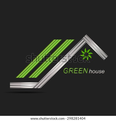 Green roof house logo icon and swoosh graphic element - stock vector