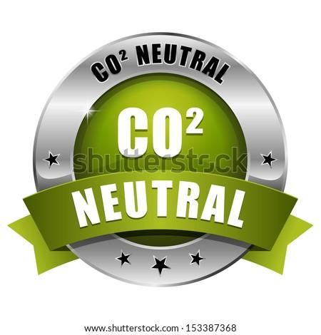 Green round carbon dioxide neutral button - stock vector