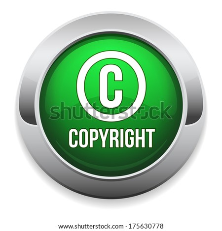 Green round copyright button with metallic border - stock vector