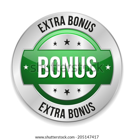 Green round extra bonus button with metallic border