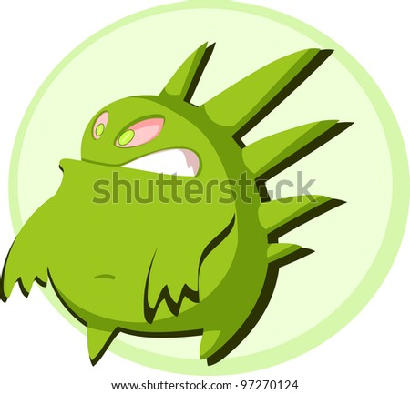 Green round monster - stock vector