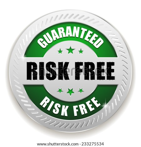 Green round risk free badge with silver border on white background