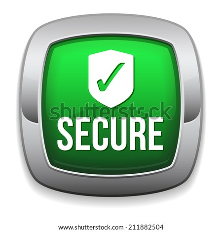 Green round secure button with metallic border on white background - stock vector