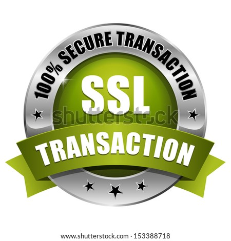 Green round secure transaction button with ribbon.