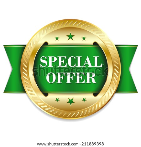 Green round special offer badge with ribbon on white background - stock vector