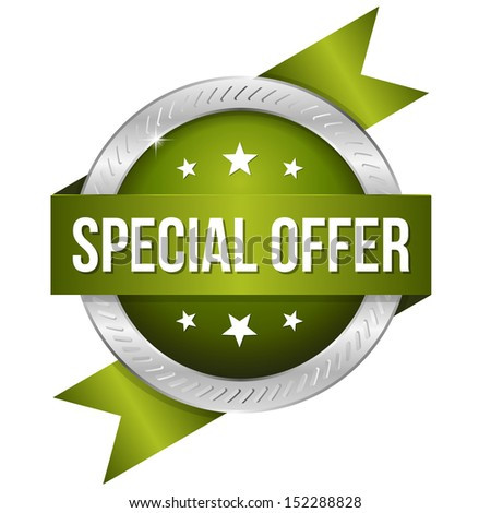 Green round special offer button with ribbon