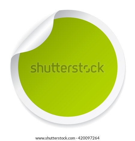 Green round sticker vector illustration isolated on white background - stock vector