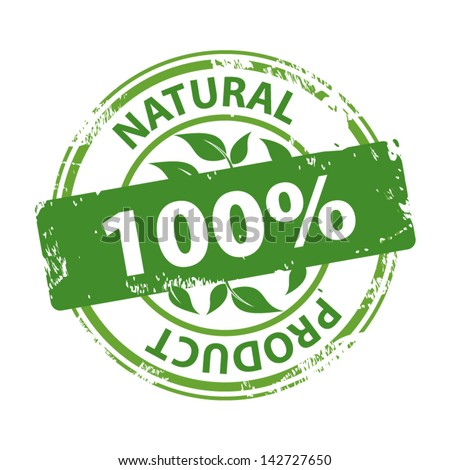 Green rubber stamp with text Natural product 100% icon isolated on white background. Vector. - stock vector