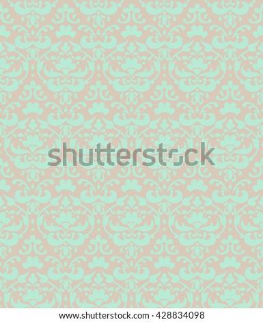 Green seamless background. Damask pattern for wedding design. - stock vector