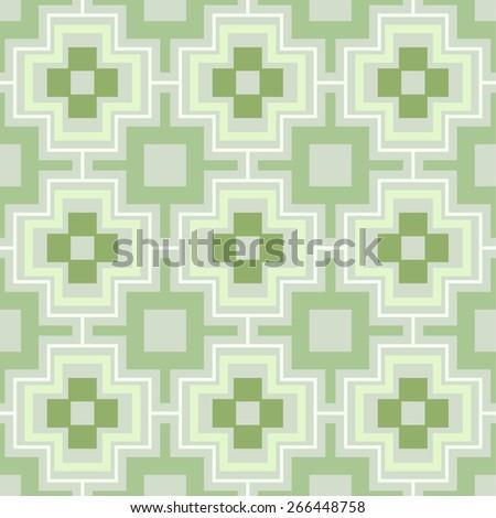 Green seamless geometric vector wallpaper pattern. - stock vector