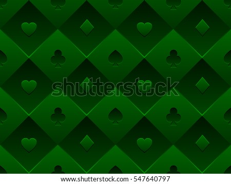 Green Seamless Pattern Fabric Poker Table. Minimalistic Casino Vector 3d  Background With Texture Composed From