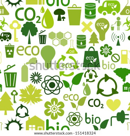 Green seamless pattern of ecological symbols
