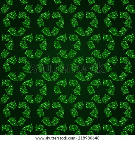 Green Seamless Pattern with Recycle Icon Sign. Vector Ecology Background. Go Green Ecology concept. - stock vector