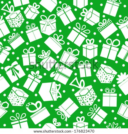 Green seamless present pattern. Vector background.