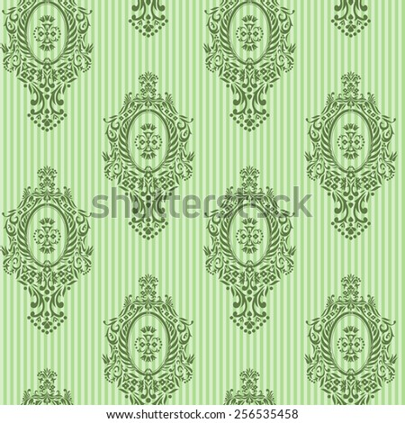 Green seamless vector skyline damask background - stock vector