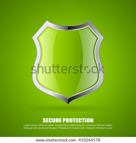 Green secure shield icon illustration on green background - stock vector