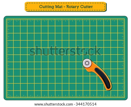 Green Self-healing Cutting Mat and Rotary Blade Cutter for do it yourself fashion, sewing, tailoring, quilting, applique, patchwork, arts, crafts. EPS8 compatible.  - stock vector
