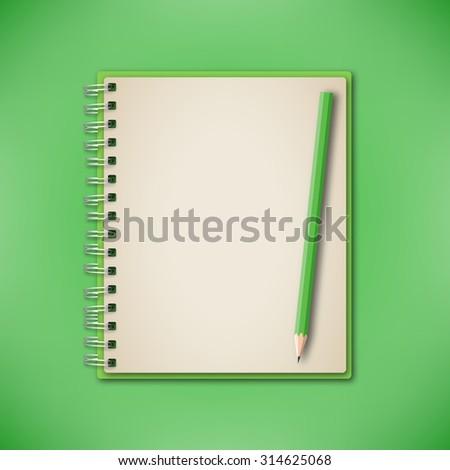 Green Set Notebook Pencil Vector - stock vector