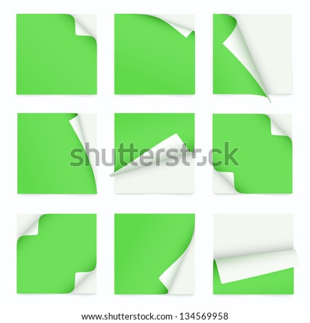 green set of note paper with curled corner - stock vector