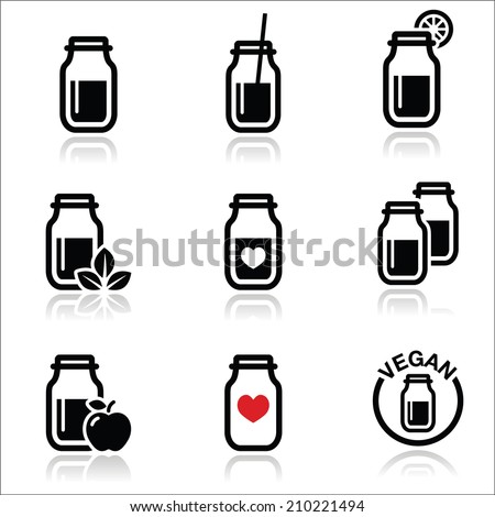 Green shake, green smoothie jar icons set  - stock vector