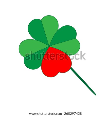 Green shamrock with red heart creating quatrefoil - stock vector