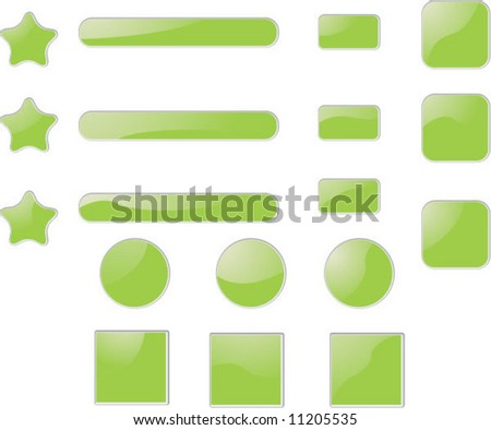 green shiny blank buttons - stock vector