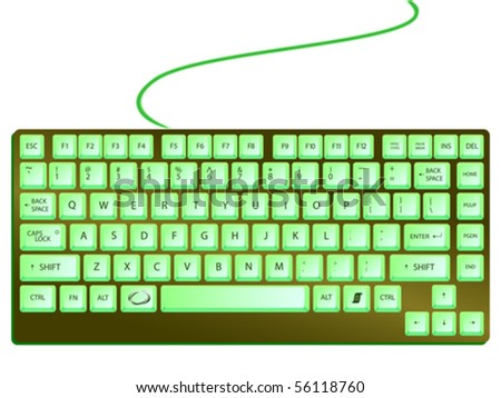 green shiny keyboard against white background, abstract vector art illustration - stock vector