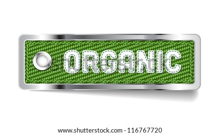 Green shiny metallic chrome vector Organic tag with fabric and stitched letters