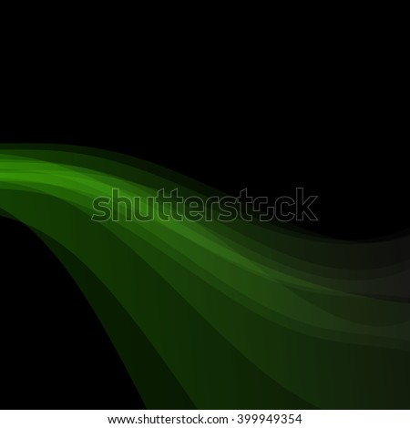 Green shiny wave on black background. Abstract vector EPS10. Perfect for banners, flyers, brochures design. - stock vector