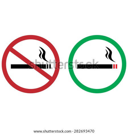 Green sign allowed smoking and red sign no smoking vector icon illustration set. Smoke free - stock vector