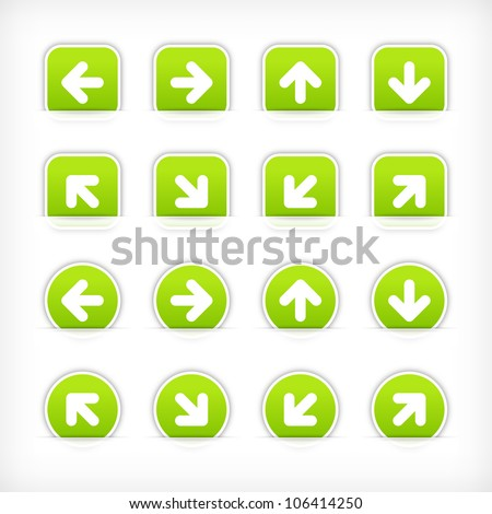 Green sign arrow sticker on cut paper pocket. Web button blank satin circles and rounded square shapes with gray drop shadow on white background. This vector illustration design element saved 10 eps - stock vector