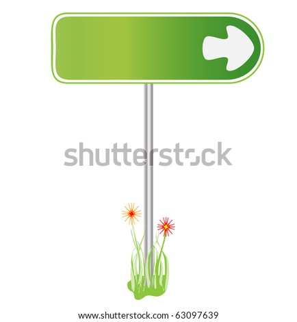 Green sign for direction - stock vector