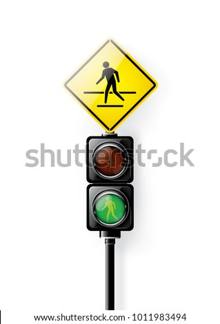 Green signal, Traffic lights for people crosswalk isolated on white background, design concept for start up, business solutions, development and innovation, creativity, icon, Vector,eps10