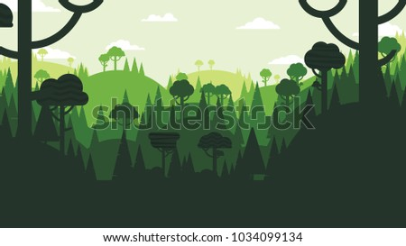 Green silhouette forest and mountains landscape abstract background.Nature and environment conservation concept flat design.Vector illustration.