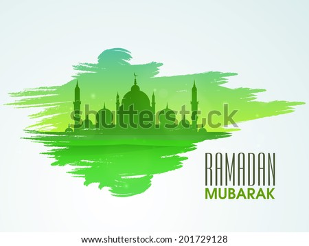 Green silhouette of mosque on green and blue background for holy month of Muslim community celebrations Ramadan Mubarak.  - stock vector