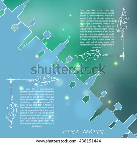 Green silhouettes of wine bottles and glasses on an indistinct background in circle. Vector illustration.
