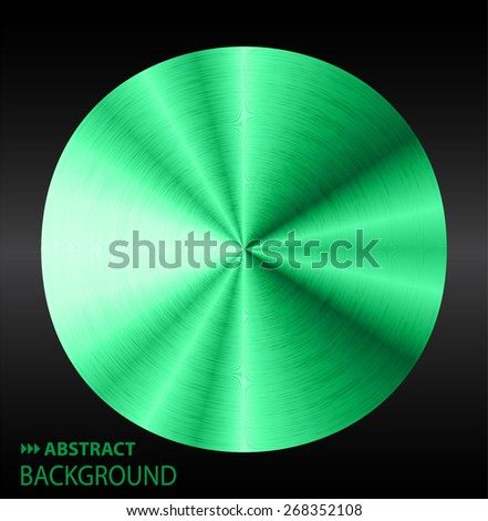 green silver abstract technology circle badge, blank button template with metal texture, realistic shadow and light background. Vector. Brochure. text box. banner. card. - stock vector