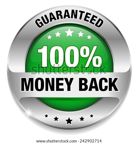 Green silver money back badge on white background