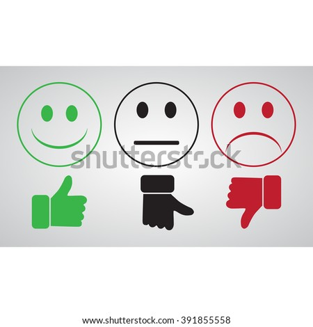 Green smiley thumbs up well. Black Smiley finger toward neutral. Red Smiley bad finger down.  On a gray background - stock vector