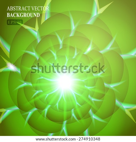 Green smooth twist light lines vector background. Eps 10. - stock vector