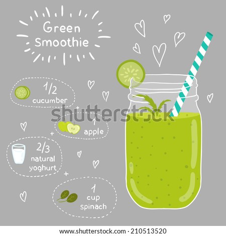 Green smoothie recipe. With illustration of ingredients. Doodle style - stock vector