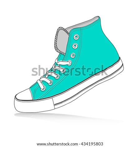 Green sneakers - shoes for youth, vector