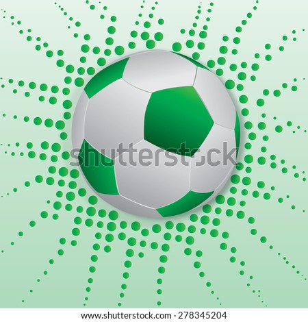 green soccer ball with  green dot as background - stock vector